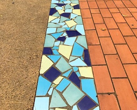 Tiles and cobble stones along a Martinique walkway